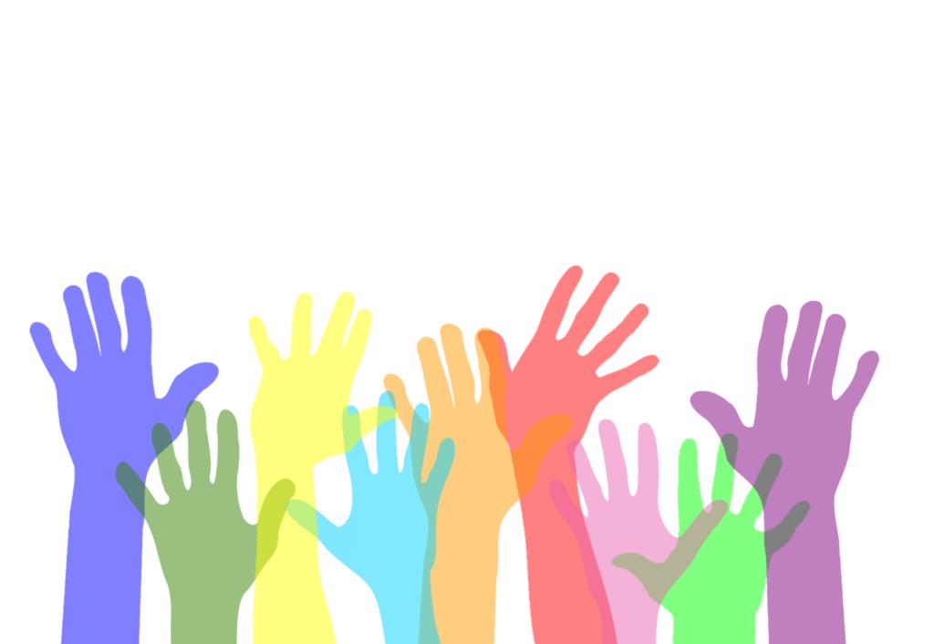 たくさんの手とボランティア