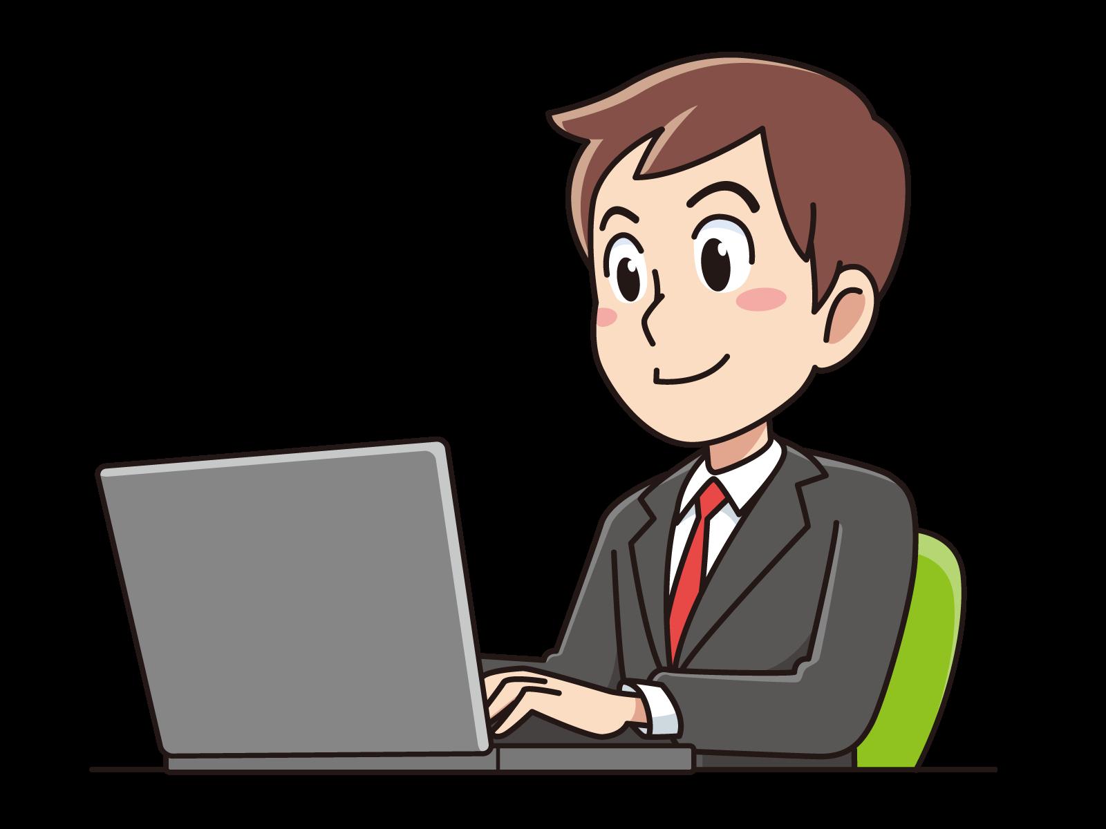 パソコンをする男性教員
